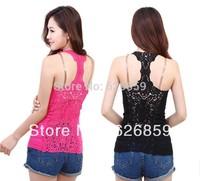 Free Shipping Back van fashion female the whole cutout crochet lace vest basic shirt all-match small vest