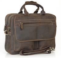 "2014 Fashion Designer Handbags High Quality Leather Handbags Brown Leather Briefcase Portfolio Men 15"" laptop Crazy Horse 2952"