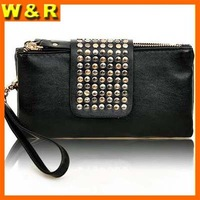Fashional Handbag Rivet Zipper Lady's Wallet Woman Evening Clutch Purse With Wrist For Samsung Galaxy