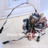 QE1263 Free shipping 2014 British style plaid cover big bow flower hair bands for women hair accessory girls headband hoops 1pcs
