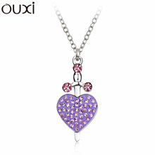 Big Coupon Discount Women Necklace Pendant Crystal Jewelry Collar Cupid Arrow White Gold Plated Necklaces OUXI