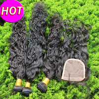 Malaysian Virgin Human Hair Wet Water Wave 1PC Free Part Lace Closure With 3PC Bunldes/Extension Natural Black Hair Free ship 6A