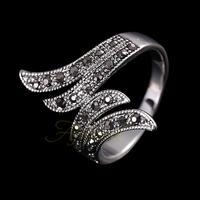 Size 8 Free Shipping 18K White Gold Plated Retro Black Rhinestone Angel Wings Women Vintage Ring