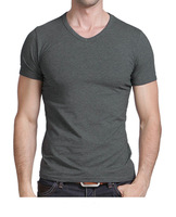 Free Shipping 2014 summer Hot Sale blank men's casual short sleeve V-neck T-shirt/shirt  black/gray/green/white M-XXL MTS181