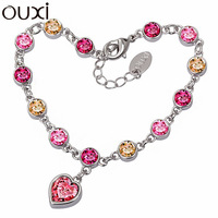 BLA001 Made With Verified Swarovski Elements Crystal Charm Bracelet Thick 18K/White Gold Plated Free Shipping