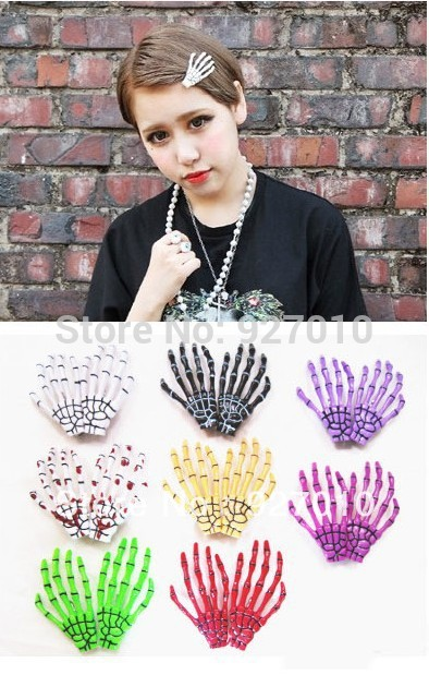Min order is $10(mix order) Skeleton Claws Skull Hand Hair Clip Hairpin Zombie Punk Horror Bobby Pin Barrettes hair clip TS093(China (Mainland))