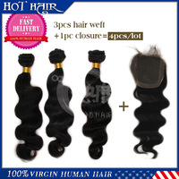 "Brazilian virgin hair body wave bundles 3 pcs with 1 pcs lace Closure (4""*4""), lace closure and bundles!!"