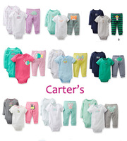 3-pcs Set Retail and Wholesale Carters Original Baby Clothing Girl and Boy 100% Cotton Pants and Bodysuit
