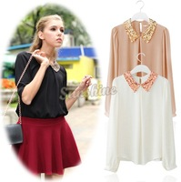 Womens Vintage Sequins Peter Pan Collar Puff Sleeve Sheer Loose Tops Chiffon Blouse 3 Colors Free Shipping 10179