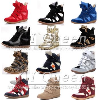 2014 winter fur Isabel Marant Style Women Wedge Sneaker Height Increasing Shoes Platform PU Leather Platform Casual Boot warm