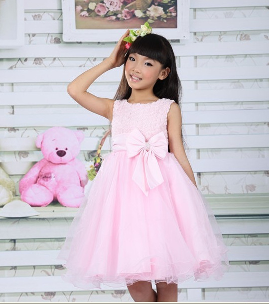 Elegant baby girl princess dress/Pink and white lace dress with rosette and bowknot/High quality