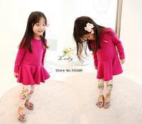 New Cute Baby's Girl's Children's  Pants Peony White Floral Ankle-length Pants 3 Sizes Leggings 13757 SV16