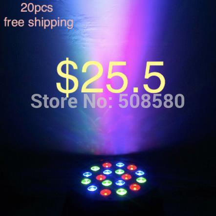 20pcs/Lot,18pcs x 3W RGB Flat LED Par Lights Par 64 can party light party effect light(China (Mainland))