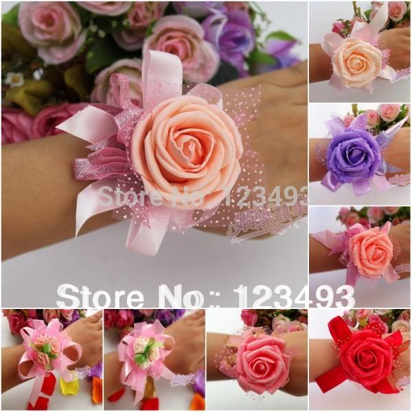 (10pcs/lot) Wedding Supplies Hand Flower Bridesmaid Wrist Flowers Bride Flowers Wedding Corsage Corsages  Free Shipping