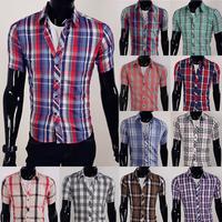Free shipping 2013 cheap Shirt  Fashion Plaid Men's Short sleeves Shirt  Summer Casual Dress Shirts 5989
