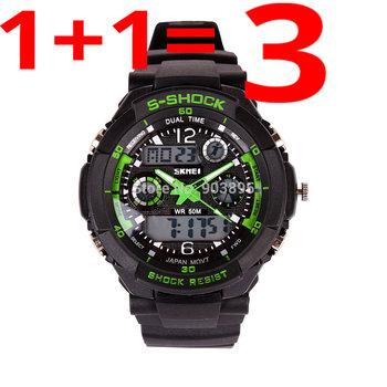 Мужские спортивные часы, водонепроницаемые до 30м, 2 часовых пояса, хронограф,  5 цветов на выбор.