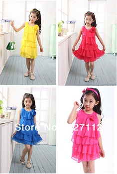 Free shipping 2014 Children Summer Clothing Girls Rainbow Dress  Sleeveless Chiffon Ball Gown girls  tutu dress Wholesale 20010