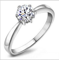 2013 hot sale fashion 925 silver platinum plated ring with AAA zircon crystal,top quality