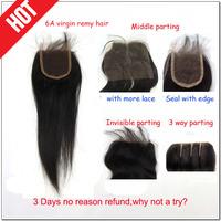 Cheap malaysian virgin hair, malaysian closure unprocessed hair bleached knots straight natural black 6A free shipping