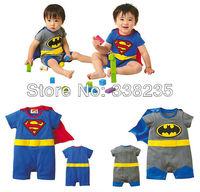 Hot ! new hot 100% cotton baby romper baby costume cartoon baby clothes super man&batman