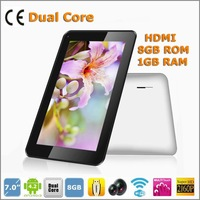 7 inch tablet pcs A20 Dual Core 1.2GHZ 8GB 1GB wifi 2800mAH Android 4.2 HDMI 1024*600  5-point touch capacitive screen cheap pc