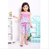 free shipping 2014 fashion Kids Girls Korean Floral summer new children's cotton casual 2pcs suit strap set