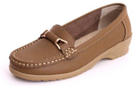 Fashion Summer Ladies Loafers Cow Split Leather Brown Casual Driving Slip Ons shoes for women casual sapatilha flats