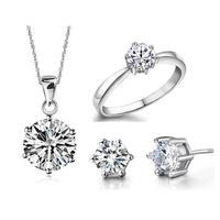 Bridal Wedding Jewelry Sets 925 Sterling Silver Jewelry Sets Luxury Swiss Zircon Pendants Necklace Earrings Ring  For Women