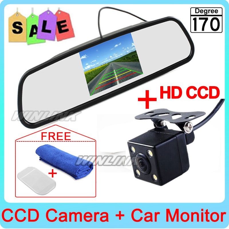 Free Shipping! HD Parking Monitors System, LED Night Vision CCD Car Rear View Camera With 4.3 inch Car Rearview Mirror Monitor(China (Mainland))