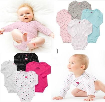 4pcs/lot, Original Carter's Baby Girls Fashion Floral & Polka Dot Bodysuit, Carters Girls Romper, Freeshipping
