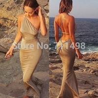 Bohemia Hollow Out Sleeveless Dresses Cotton Khaki Sexy Backless Beach Dress Bandage Bodycon Dress