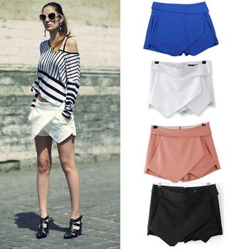 2014 New 4 Colors Womens Skirts female Tiered Shorts Irregular Zipper Trousers Culottes Short Skirt XS-XL Plus Size
