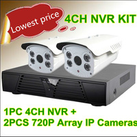 4CH H.264  D1 720 PNVR  1Set, 2PCS 1.3MP Array IR Waterproof Night Vision Standard  Onvif  IP Cameras System NVR Kit