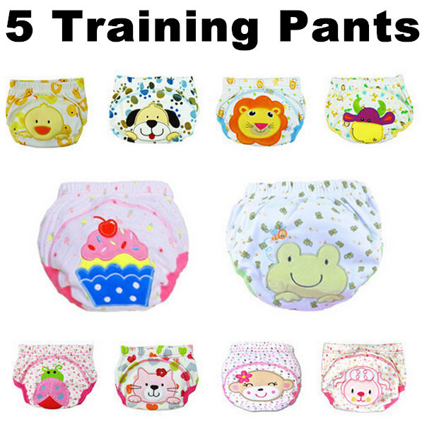 5 pcs/lot 2014 NEW ! Baby Washable Diapers/Children Reusable Underwear/100% Cotton Breathable Diaper Cover/Training Pants(China (Mainland))