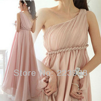 Formal European Greek Goddess The Oblique Long Pink Chiffon Bridesmaid Dresses Elegant For Wedding Guest ++Free shipping