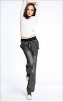 Fashion new bloomers wide leg pants elastic waist bow trousers for women loose denim pants
