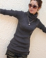 Sweater women 2014 new fashion sale long warm Turtleneck choker Pullover thicken cony hair casual women's sweater clothing 1025