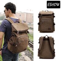 Men Travel Brown Canvas Backpack Men Camping Rucksack Backpacks Large Hiking Bag BFB002601