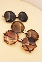 2014 New Brand Sunglasses Vintage Round Box Plain Mirror Glasses Men oculos Women Metal legs Sunglasses 8732
