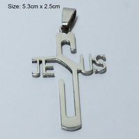 Jesus Cross Necklace & Pendants Silver Women,Stainless Steel Metal Polished,Christian Crucifix Jewelry Men,God bless,Religious