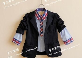 Retail (3-11Y) 2013 boy's blazers  children outwear terry soft kids autumn &spring coat  3colors