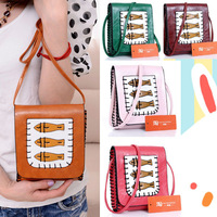 New Fashion All-match vintage Fish printed hand knitting PU Lady Shoulder Bag,Mini Messenger small envelope bags/handbags B3