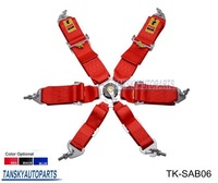 With any logo-- 2013 New  6-Point Racing Seat Belt / with 6 pcs FIA Approved Expiry 2018  TK-SAB06 (Red, Blue, Black)