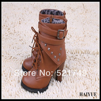 Autumn And Winter Fashion Women  Motorcycle  Boots 2013 Black And Brown Rhinestone Platform High Thick Heel  Brand Designer