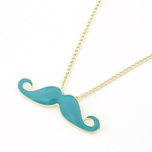 Fashion Jewelry 2014 New Design Charming Gold Chains Enamel Black Mustache Beard Pendant Necklace Statement Long