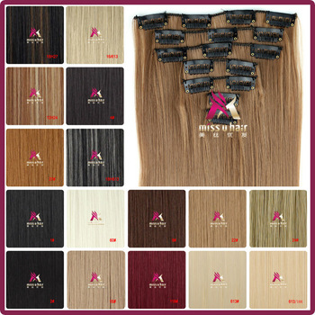 """24""""(60cm) 130g Long Straight Synthetic Hair Clip in hair extensions pieces 7pcs/set high temperature fiber  Free Shipping"""