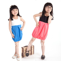 2014 summer children clothing mixing color cotton children sleeveless straight ruched girls dress 3T-10