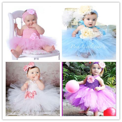 8 color NB-24m With Flower Headband Baby Tutu Dress Baby Girl Set Photo/Birthday/Wedding Party Flower Girl Dresses(China (Mainland))