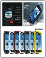 Love Mei Powerfull Aluminum Dirtproof Waterproof Metal Case For Galaxy S4 i9500 S3 Gorilla Glass Free Shipping