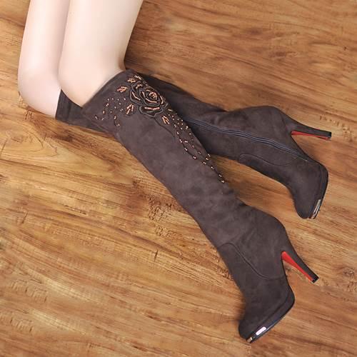 envío gratis 2013 nuevos de moda de tacón alto sexy botas hasta la rodilla rebaño de otoño de la mujer de invierno largo botas de moto para mujer señora bombas